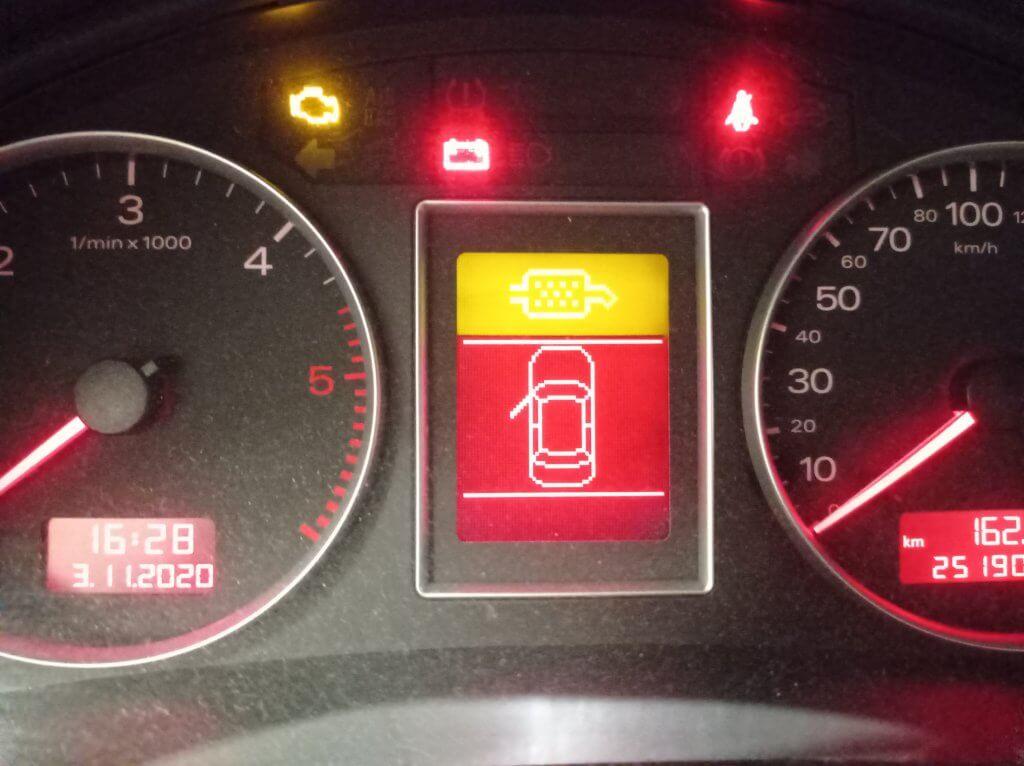 AUDI значок катализатора на панели постоянно горит