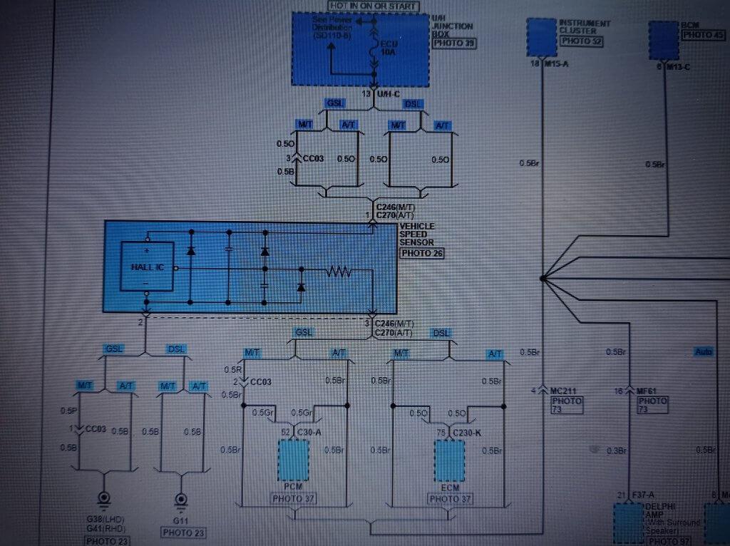 Santa Fe CM: оригинальная электросхема датчика скорости