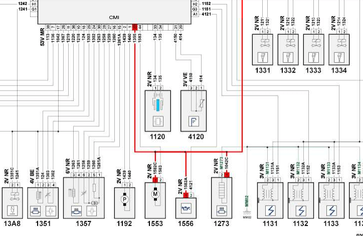 Электрическая схема EP6 с ошибкой P0945 и P0947