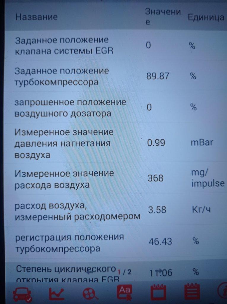 Параметры 1.6 Blue HDI работа EGR и расходомер