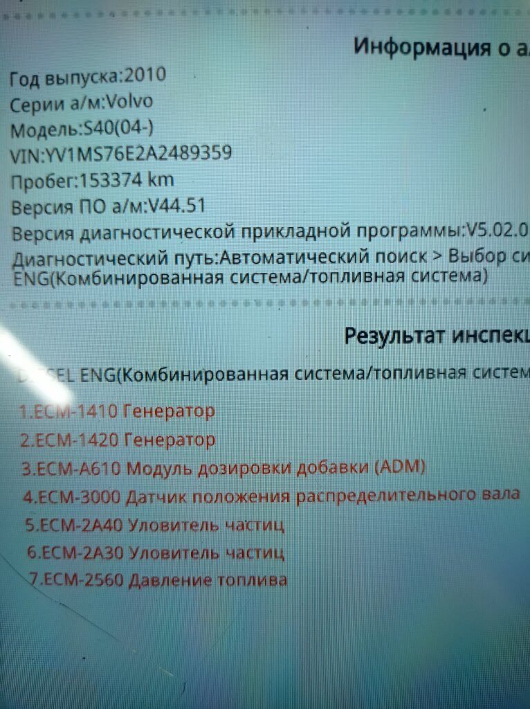 Volvo S40 1.6 TDCI Ошибка 2A30 (P2002)